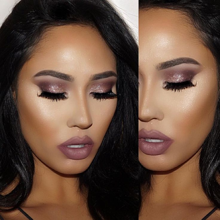 ABH artist pallet Dusty rose/Baby I'm a star/Pink champagne/Aubergine Lips: sepia and Veronica mixed Highlight so Hollywood