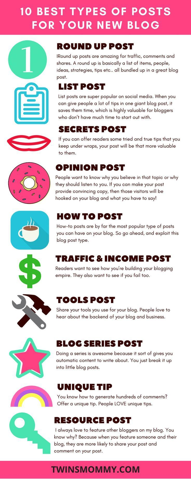 Have no idea what types of posts you should have on your new blog? Check out these 10 popular types of posts to have. These will give you comments and social shares. | blogging tips | blog traffic | start a blog
