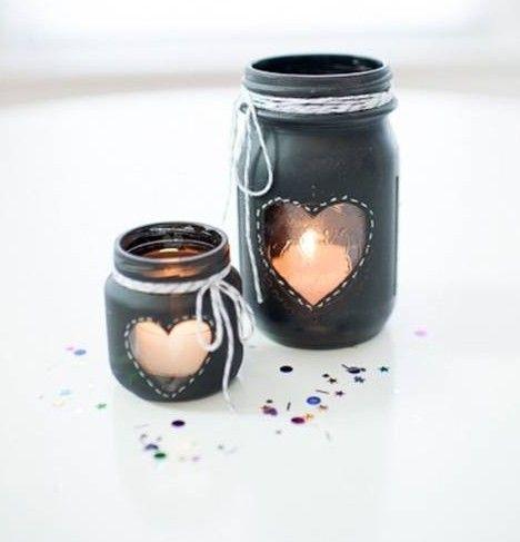 DIY Glass Jar Heart Candlestick
