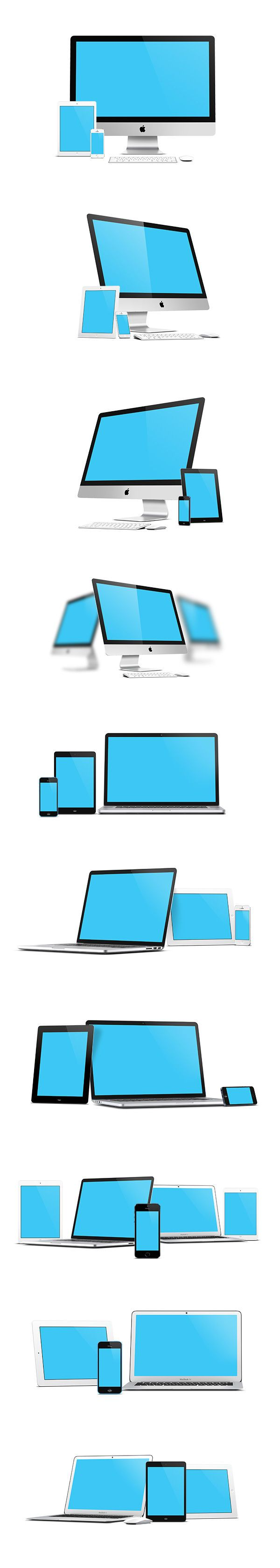 This mock-up is quite special: a perfect, sharp and clean rendering of all new apple devices, with pure reflections...