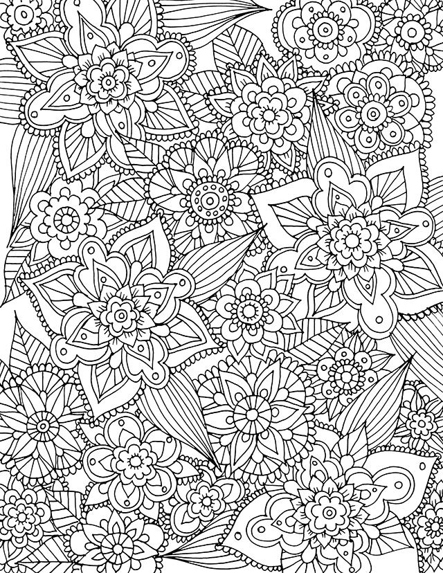 Intricate Flowers Free Coloring Page Spring Coloring Pages Printable Coloring Pages Free Coloring Pages