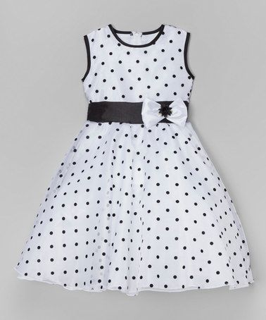 Look at this #zulilyfind! White & Black Polka Dot A-Line Dress - Infant, Toddler & Girls #zulilyfinds