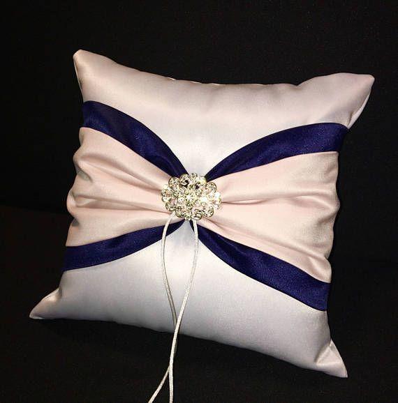 Navy Blue & Blush Pink Ring Bearer Pillow