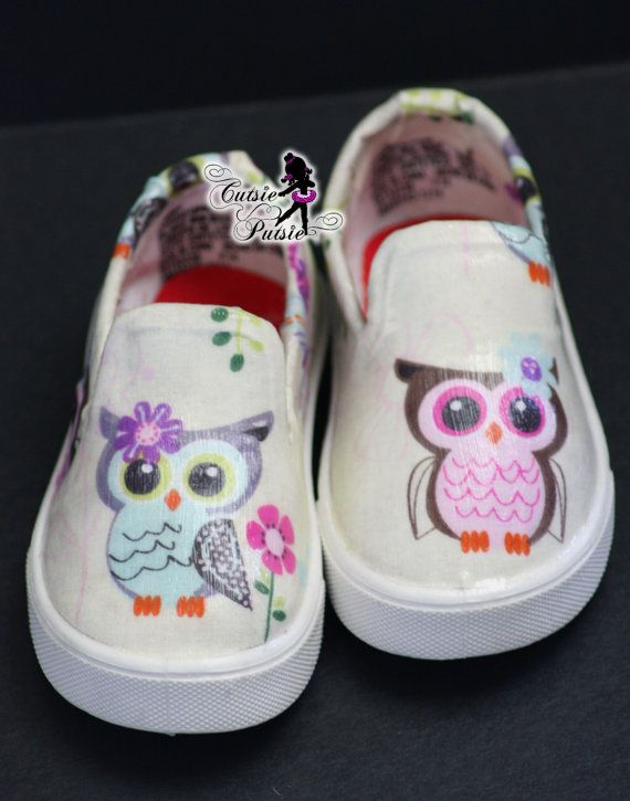 Owl Shoes - Owl Birthday Girl Outfit - Owl Birthday Party - Custom Kids Shoes - Baby & Children's Shoes - Custom Canvas Shoes - Unique Shoes by CutsiePutsie