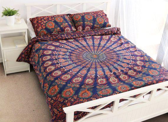 Arc-en-ciel Mandala tapisserie couette par ZINNIACOLLECTIVE sur Etsy