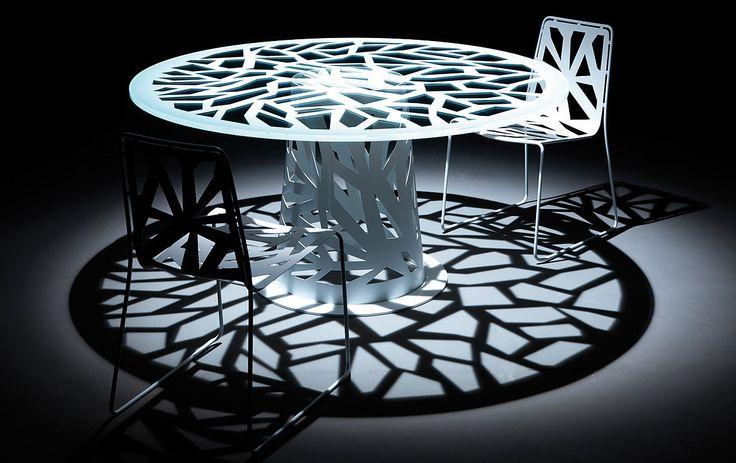 Tavolo rotondo vetro Domino