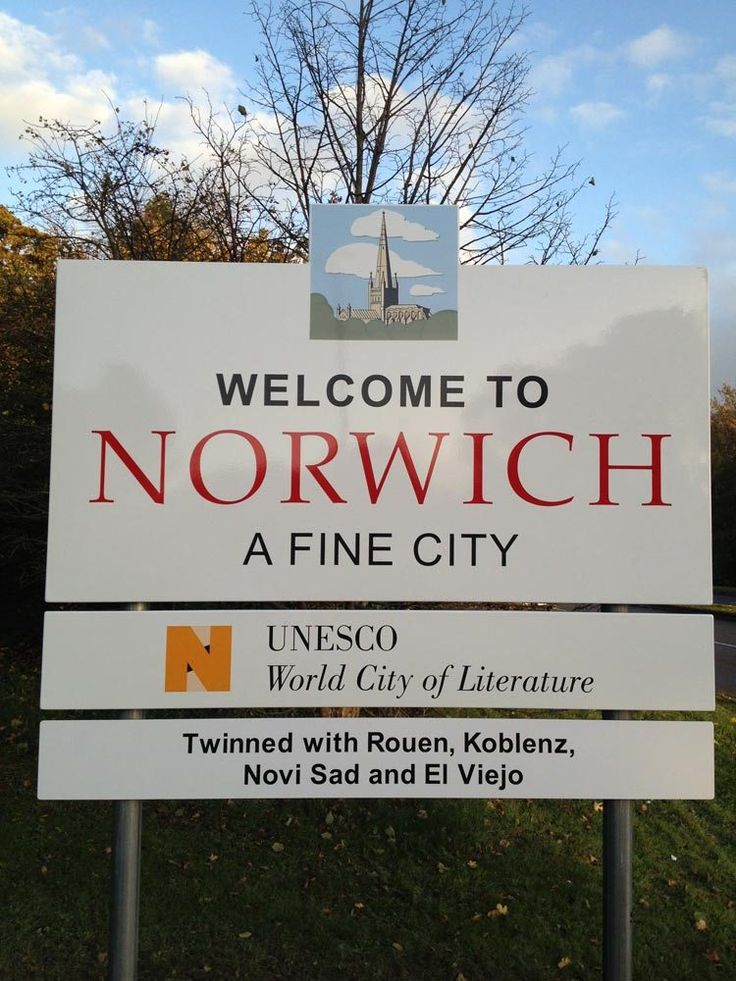 Welcome to Norwich, a fine city: In 2012 Norwich became England's first UNESCO City of Literature, and the sixth in the world. This elite international network now includes six other cities around the world; Edinburgh, Melbourne, Iowa City, Dublin, Reykjavik and recently Kraków. Today (14 November 2013), Norwich's new city signs have been unveiled, proudly declaring to all visitors (and, of course residents) that this fine city is a UNESCO City of Literature. | Writers' Centre Norwich