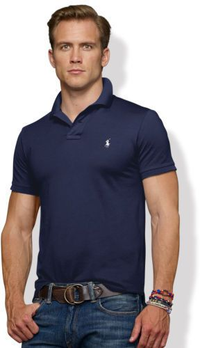 $98, Navy Polo: Polo Ralph Lauren Slim Fit Stretch Mesh Polo. Sold by Ralph Lauren. Click for more info: http://lookastic.com/men/shop_items/27414/redirect