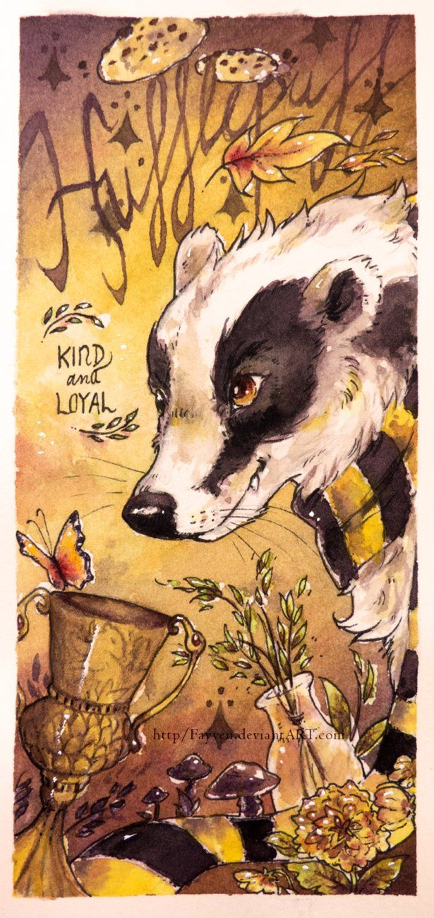 HUFFLEPUFF - House of the Badger Since Hufflepuff is connected with the element of Earth, I tried to make this look as sunny and earthy as possible, sort of in tune with nature. Hope you fellow Huf...