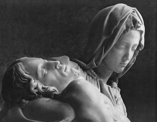 "amazing shot of the Pieta, from ""A Sword for Theists"""