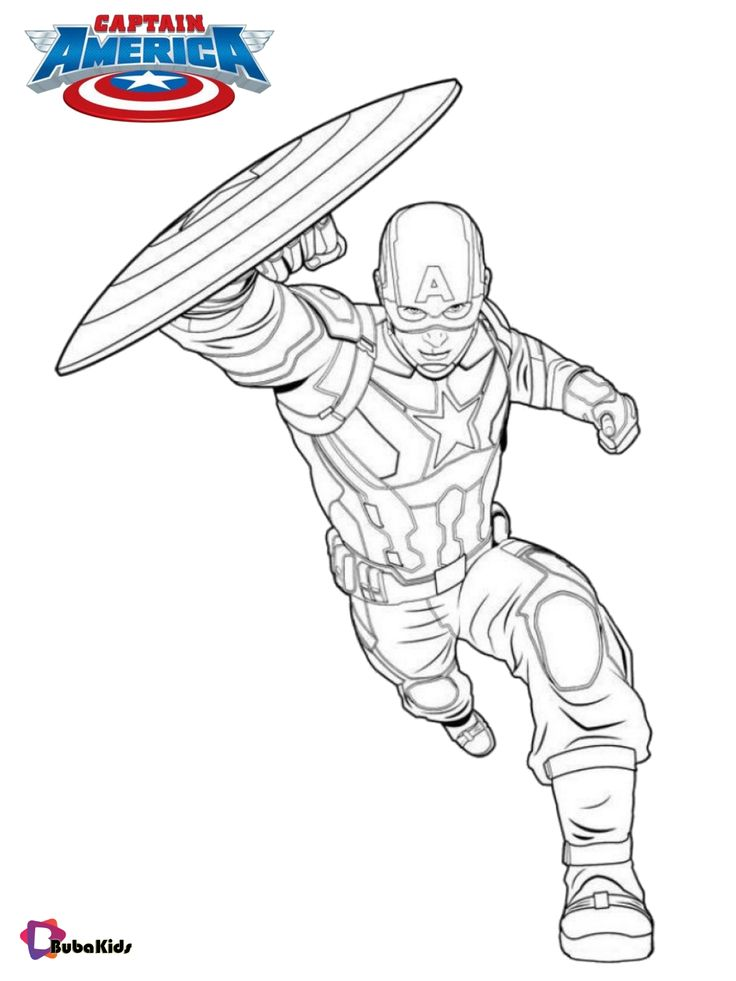 Captain america running with shield coloring pages di 2020