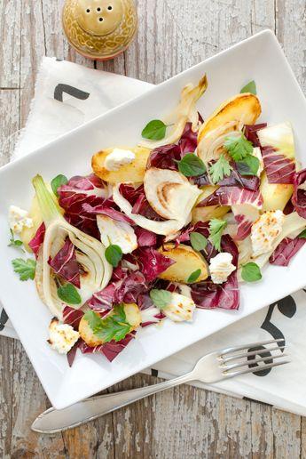 Warmer Salat mit Wintergemüse und Bratkartoffeln