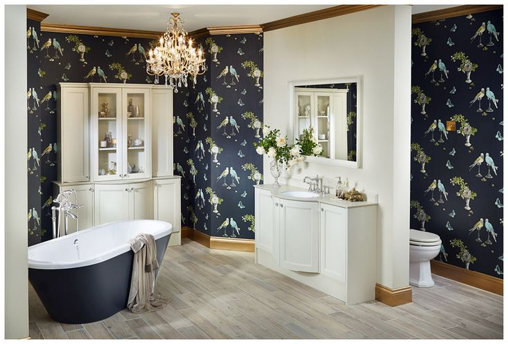 Fabulous high impact bathroom featuring Clotted Cream painted finish from the Roseberry range and sensuelle freestanding bath #Roseberry #paintedtimber #bathroomfurniture #myutopia