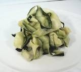 Zucchini pasta....I made this the other day, I used a vegetable peeler to ribbon the zucchini and then sauted it a little in olive oil then put my home made spaghetti sauce over it...Very good