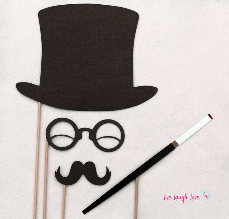 Photo Props. 20s Gentleman On a stick Set: top hat, glasses, stache, and long cigarette holder with burning cig.. $15.00, via Etsy.