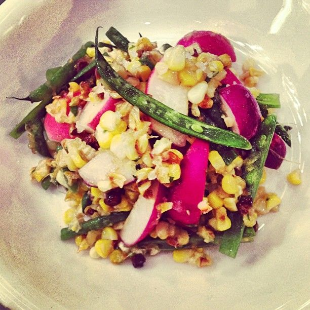 weekend up right! Roasted Corn Salad with Easter Radish, Haricot Vert ...