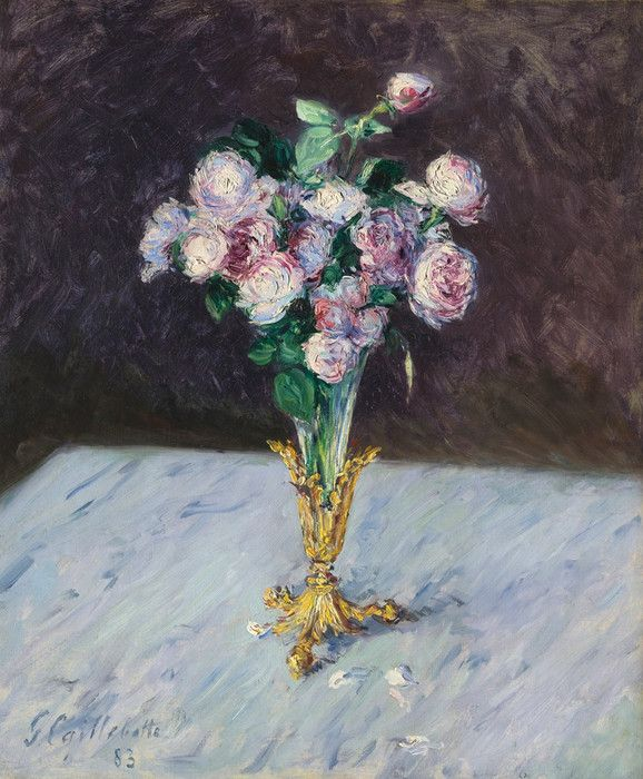 Bouquet of Roses in a Crystal Vase by Gustave Caillebotte | Art Posters