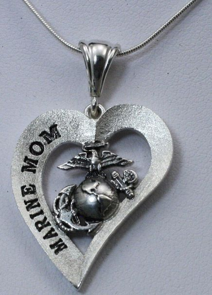 Marine Mom Heart Design Necklace