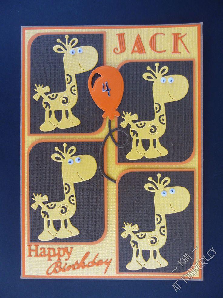 Card using Tattered Lace Little Monster giraffe die.