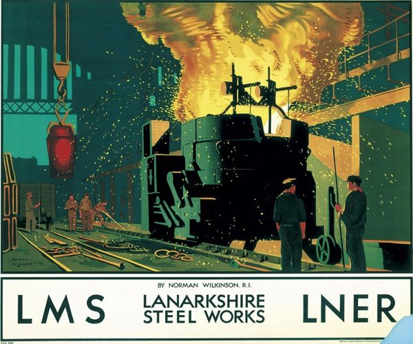 'Lanarkshire Steel Works', LMS/LNER poster, c 1935. Norman Wilkinson