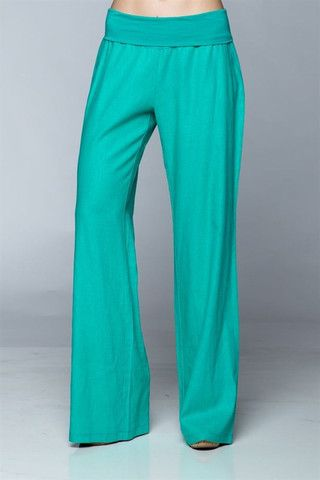 Fold Over Linen Pants Turquoise - Palazzo Pants - Endless Envy Boutique - Clothing & Jewelry