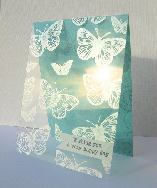 This is a lovely fresh card, like the stamped acetate.  Stamping on Acetate image by PaperandRibbons, via Flickr.