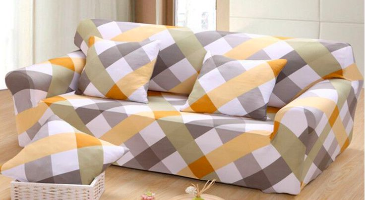 >> Click to Buy << Spandex Stretch Yellow Grid  Skid-proof Sofa Cover Big Elasticity 100% Polyester Sofa Furniture Cover #Affiliate