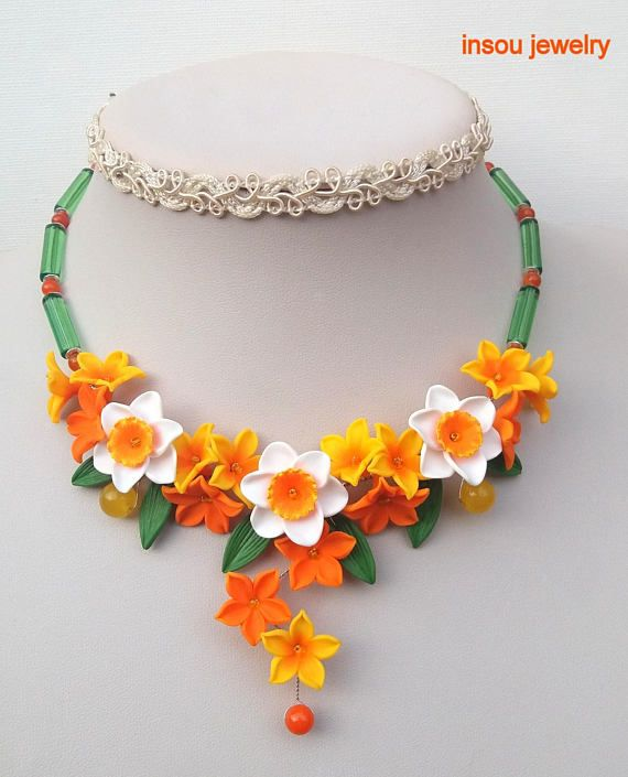 Narcissus jewelry   Flower statement necklace  Orange