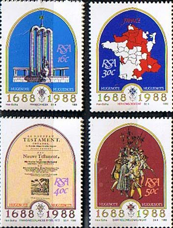 South Africa 1988 Huguenots at the Cape Set Fine Mint SG 637 40 Scott 710 13 Condition Fine MNH Only one post charge