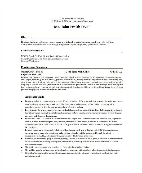 sample objectives for resume examples word pdf nurse practitioner physician assistant