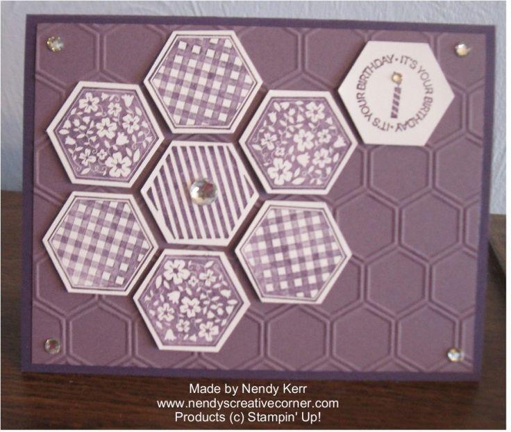 Purple Hexagons Card www.nendyscreativecorner.com