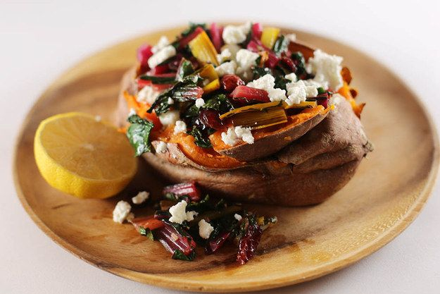 Here's What You Should Eat For Dinner Tonight: Swiss Chard and Feta-Stuffed Sweet Potatoes