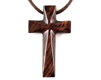 Wooden Cross Pendant, Wood Cross Necklace, Hand Carved Wood Cross Pendant, Mens Cross Necklace, Mens Cross Pendant, Christian Jewelry