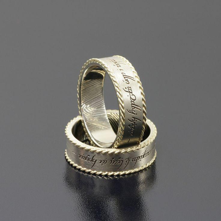 Lord of the Rings Białe złoto i żółty warkocz dookoła obrączek. www.inneobraczki.pl #obrączki