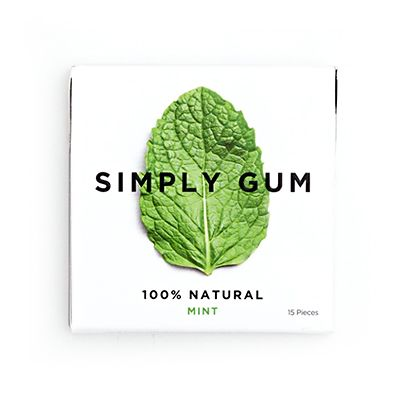 Simply Gum - The Only 100% Natural Chewing Gum. Available in 6 flavors: mint, cinnamon, ginger, fennel licorice, coffee and maple.