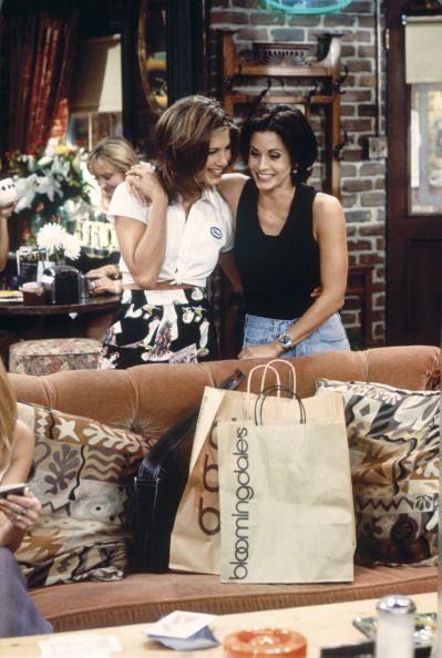 Jennifer Aniston as Rachel Green, Courteney Cox as Monica Geller ~ Friends: Season 2, Episode 2 ~ The One With the Breast Milk 1995 .. this is me & @Tara Harmon Morris