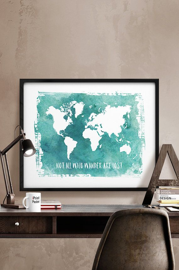 109 best world map posters images on pinterest room wall decor not all who wander are lost world map print large world map watercolour map travel decor wall art home decor gift iprintposter gumiabroncs Image collections