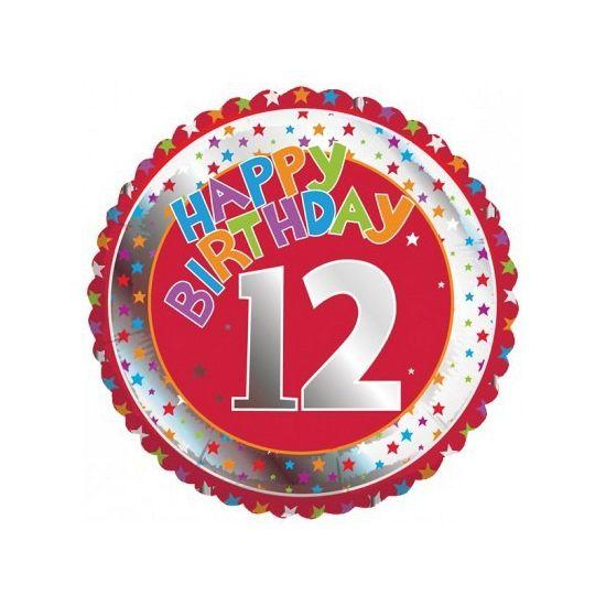 Happy Birthday 12 jaar folie ballon. Feestelijke ballon voor een 12e verjaardag. De ballon is rond en wordt gevuld met helium verstuurd. Ongeveer 45 cm groot. Deze folie ballon wordt gevuld met helium geleverd en kan derhalve niet worden geretourneerd.