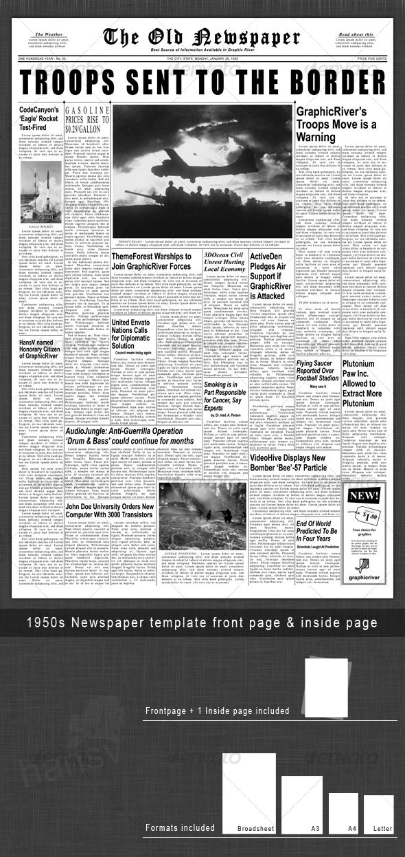 1950s Newspaper Template Front Page & Inside Page — Photoshop PSD #newspaper #old • Available here → https://graphicriver.net/item/1950s-newspaper-template-front-page-inside-page/129295?ref=pxcr