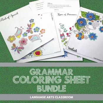 grammar coloring sheet bundle flowers - Fun Sheets For Students