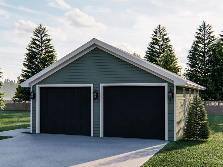 050g 0103 Two Car Garage Plan With Extra Deep Bays 25 X40 In 2020 Garage Plan Car Garage 2 Car Garage Plans