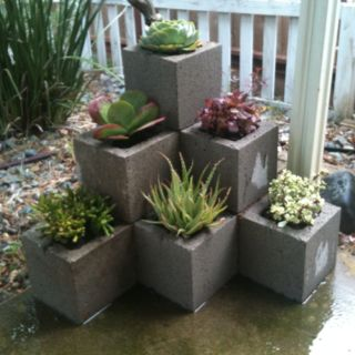 Cinder Block Succulent Garden, like structure so instead may try with Saltillo tile planters or square terra cotta pots - Garden Tips and Tricks