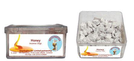 Greek Orthodox Handmade incense granules - Honey. Plastic box of 30gr.