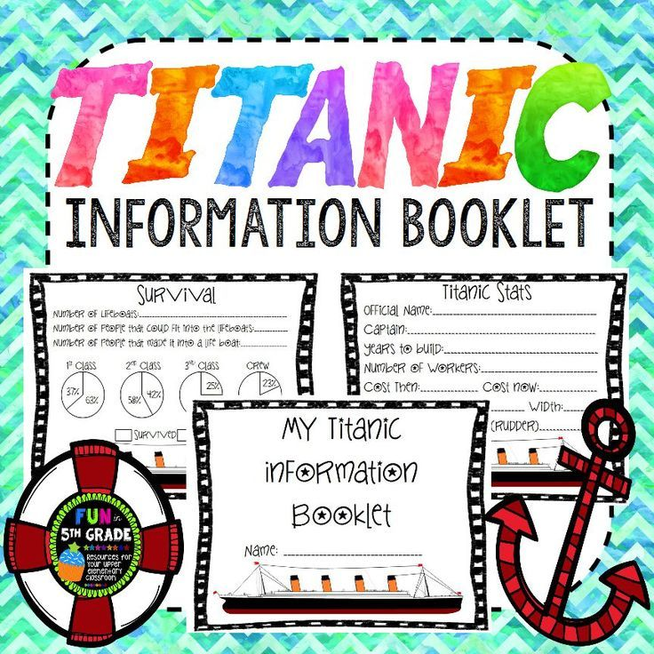 Titanic Information Booklet ~ Use interactive websites to learn and record information about the story of the Titanic. $