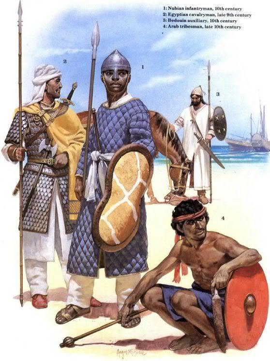 1: Nubian infantryman, X c.;  2: Egyptian cavalryman, late IX c.;  3: Bedouin auxiliary, X c.;  4: Arab tribesman, late X c.