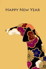 年賀状 犬の横顔シルエット 花柄 英字