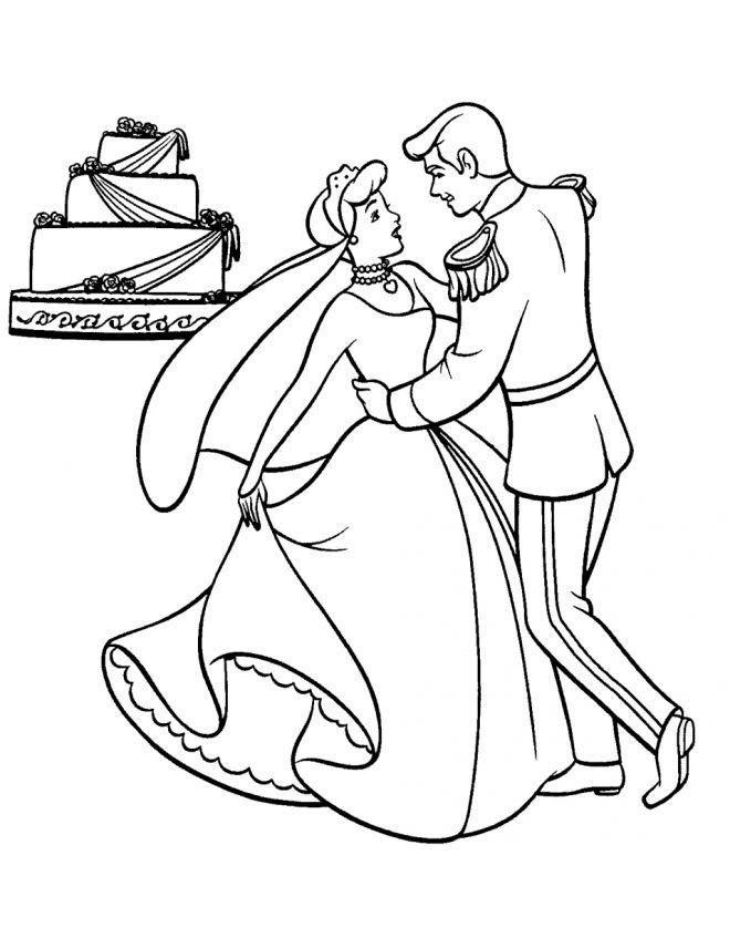 Princess Wedding Coloring Pages : Disegno cenerentola sposa disegni da colorare e stampare