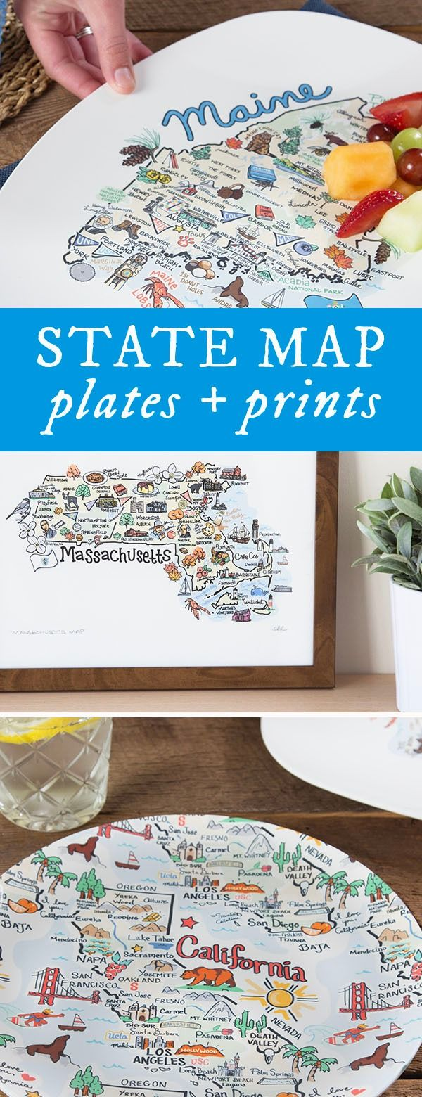 Made in the USA prints, platters, and plates celebrate each state's greatness, using original, whimsical (and informative) illustrations.