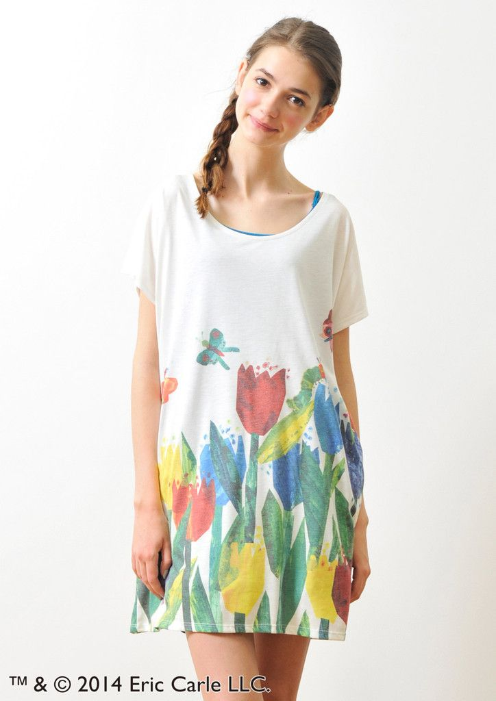Eric Carle Round Neck Short Sleeve One-Piece(Tulip Garden) – Design Tshirts Store graniph