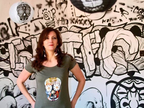 Woman T-shirt with fancy skull motif by LeeAMuerte on Etsy #sugarskull